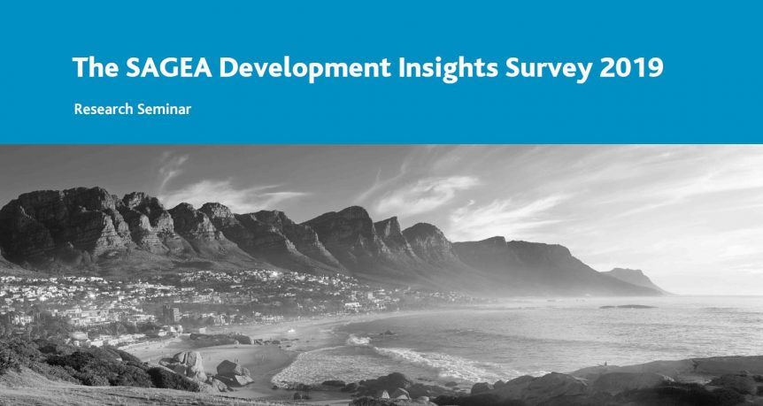 SAGEA Development Insights Survey 2019 with black and white coastal landscape