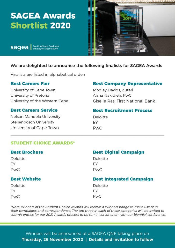 SAGEA Awards SHORTLIST 2020