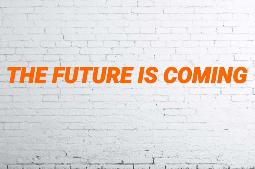 The future is coming written in Student Village corporate orange across a white brick wall from PDF download about how to attract graduate talent