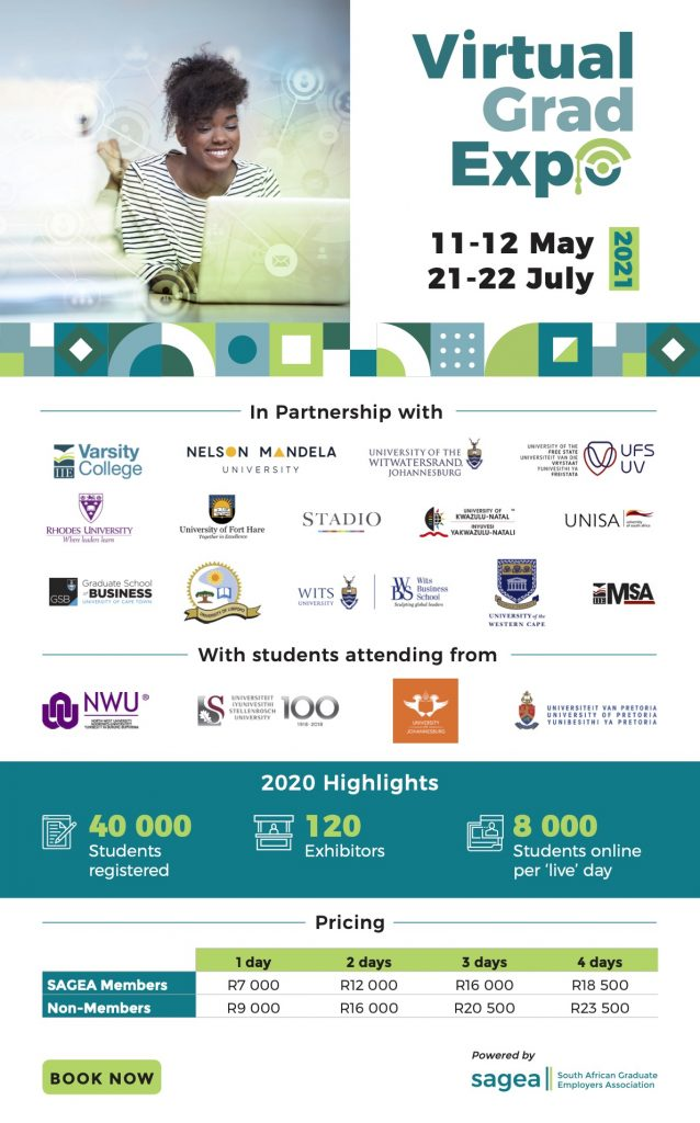 SAGEA VirtualGradExpo 2021 open for employer stand bookings members R7000 one day non members R 9000 one day